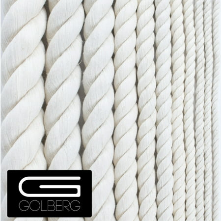 Golberg White Natural Cotton Rope - 1/2 Inch Diameter Twisted 100% Pure Natural Cotton Rope - Multiple Length Options - Made in America Single Cotton Rope
