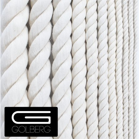 Golberg White Natural Cotton Rope - 5/16 Inch Diameter Twisted 100% Pure  Natural Cotton Rope - Multiple Length Options - Made in America