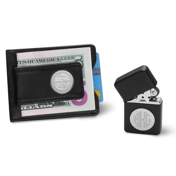 Personalized Black Leather Wallet & Black Lighter Set