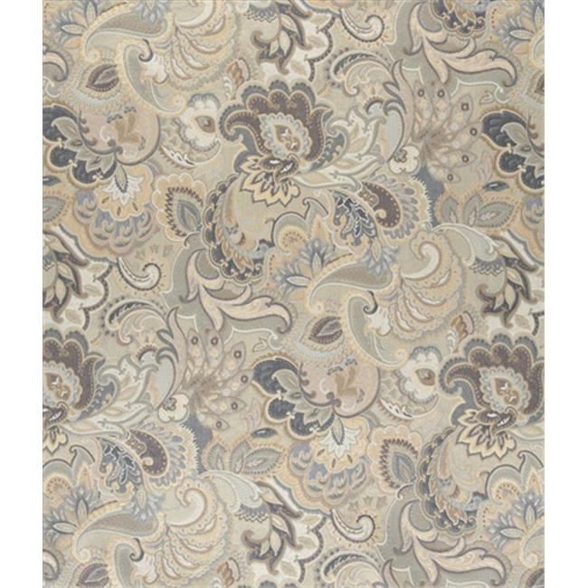 Designer Fabrics K0025D 54 in. Wide Blue, White And Gold, Abstract Floral Upholstery Fabric