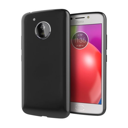 Motorola Moto E4 Plus TPU Case, Slim & Flexible Anti-shock Crystal Silicone Protective TPU Gel Skin Case [Black]