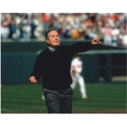 Former President George W. Bush Unsigned 8X10 Inch Photo Throwing A Pitch At A Baseball Game