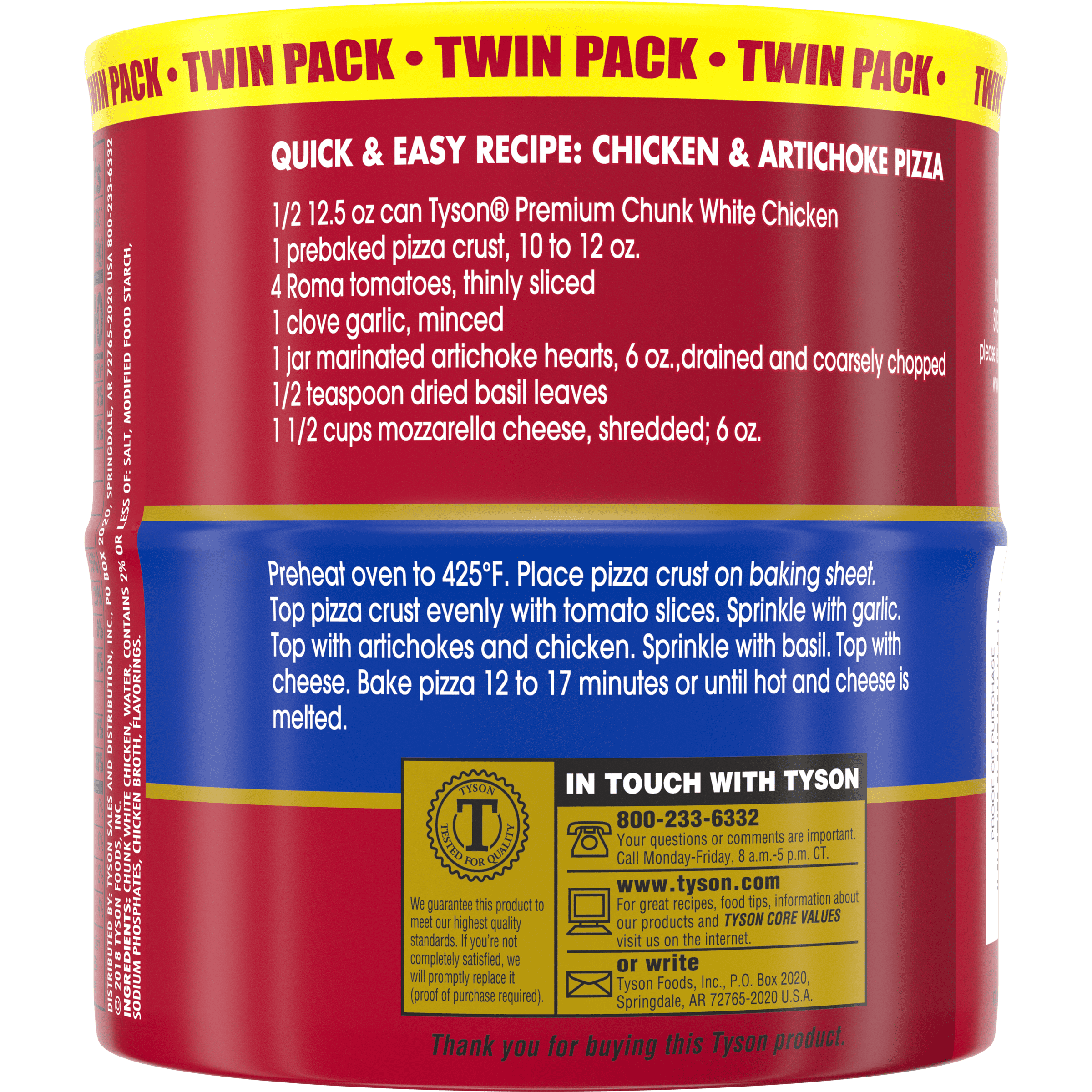 Tyson Premium Chunk White Chicken Breast 12 5 Oz Twin Pack Walmart Com Walmart Com