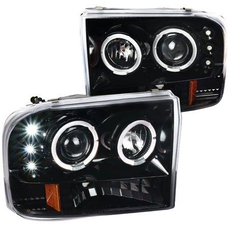 Spec-D Tuning Jet Black 1999-2004 Ford F250 F350 F450 F550 Superduty Led Halo Projector Headlights Pair 1999 2000 2001 2002 2003