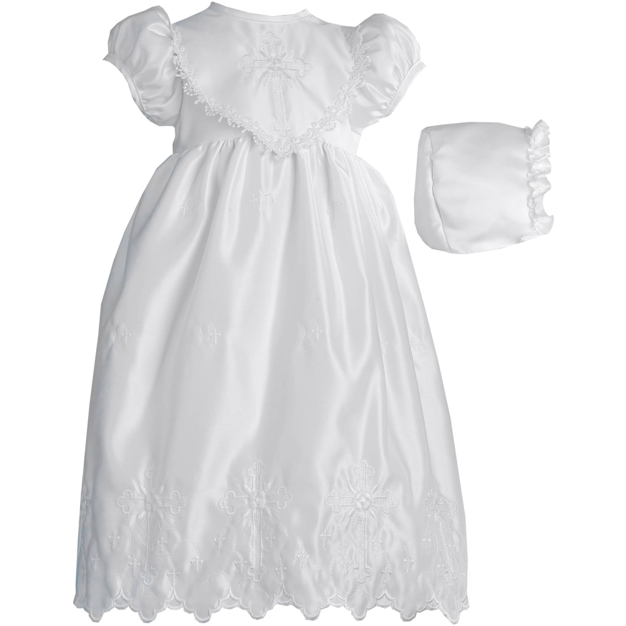 Christening Baptism Newborn Baby Girl Special Occasion Girls Long Bridal Satin Cross Embroidered Dress With Hat