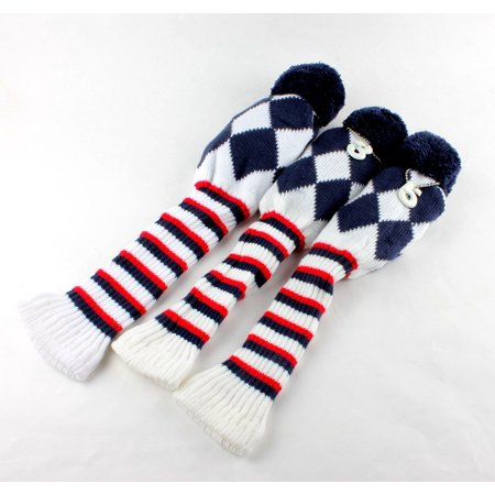Knit Golf Club Covers - Golf Club Knit Head Cover 3pcs Headcover Set Vintange Pom Pom Sock Covers 1-3-5 dark blue&red&white