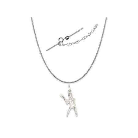 Sterling Silver Baseball Batter Charm on a 0.90mm Box Chain Necklace, 18