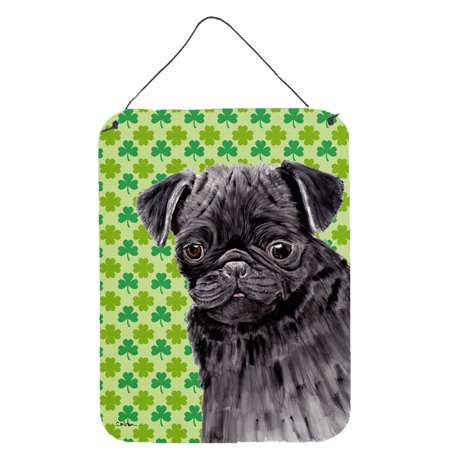Pug Black St. Patrick's Day Shamrock Portrait Wall or Door Hanging Prints](St Patrick's Day Signs)