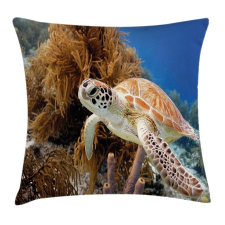 Turtle Throw Pillow Cushion Cover  Coral Reef And Sea Turtle Close Up Photo Bonaire Island Waters Maritime  Decorative Square Accent Pillow Case  18 X 18 Inches  Light Coffee Brown Blue  By Ambesonne