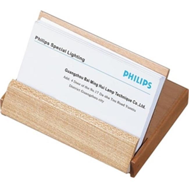 Visol Products V803B Arolla Natural Maple Wood and Rosewood Desktop Business Card Holder