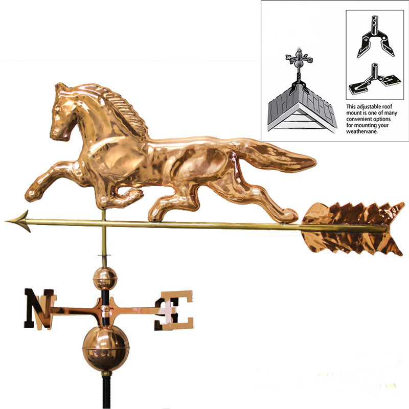 "STKUSA 38"" Weathervane Horse Copper Polished, Roof Mount by Weathervanes"