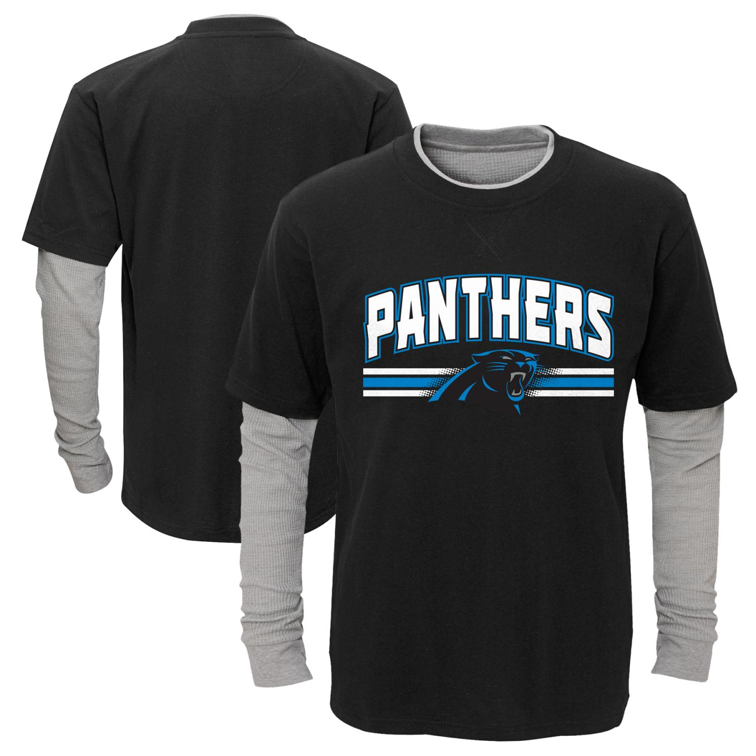 "Carolina Panthers Youth NFL ""Bleachers"" L/S Faux Layer Thermal Shirt"