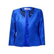 Kasper Women's Rhinestone Embellished Open Front Blazer (12, Electric Blue)