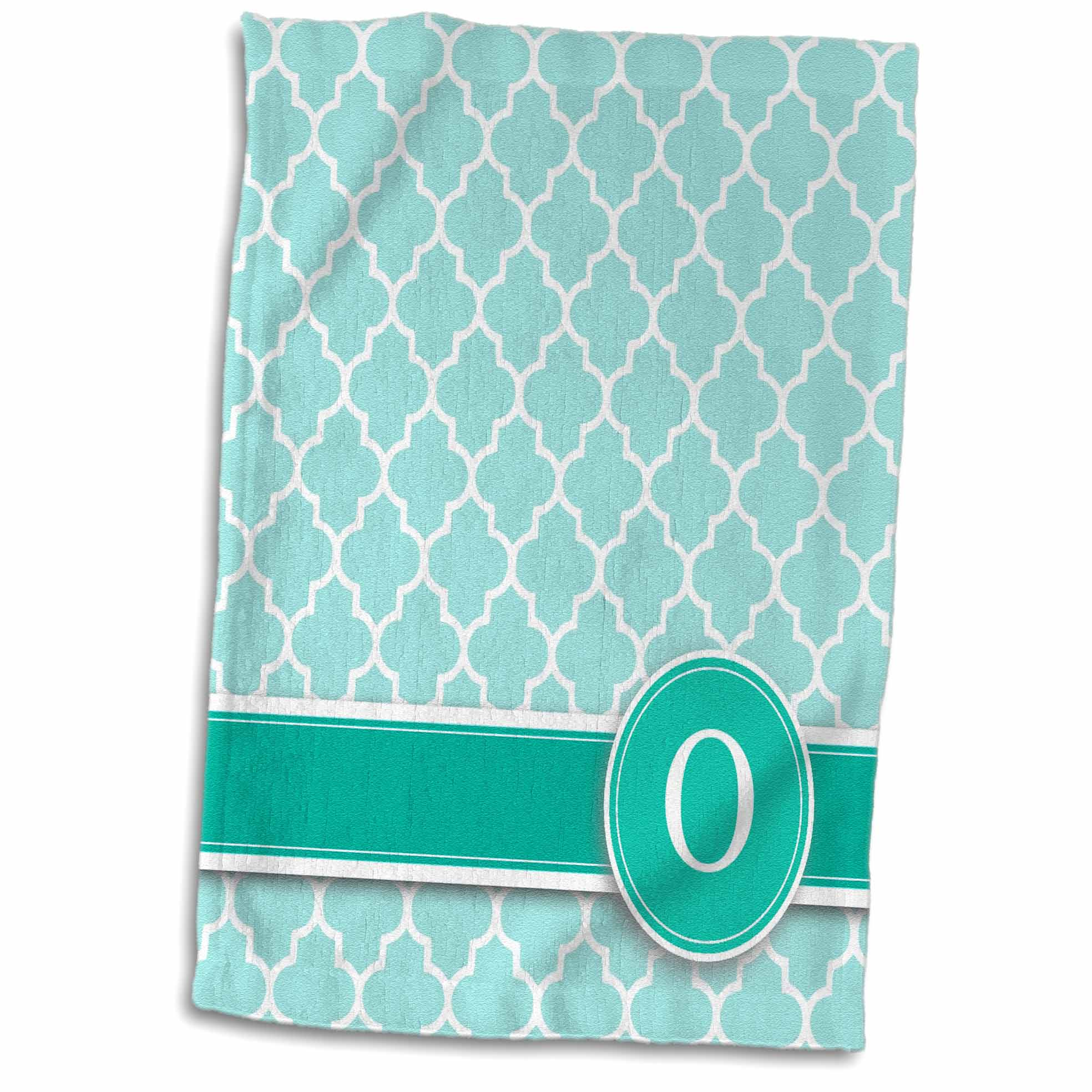 3dRose Personalized letter O aqua blue quatrefoil pattern Teal turquoise mint monogrammed personal initial - Towel, 15 by 22-inch