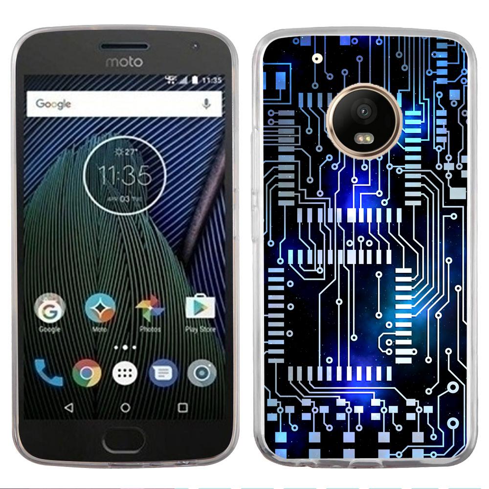 Fit Moto E4, OneToughShield ® Slim-Fit Premium TPU Gel Phone Case for Motorola Moto E4 - Cosmos Circuit