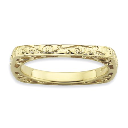Sterling Silver Stackable Expressions Polished Gold-plate Square Ring Size 6 - image 3 of 3