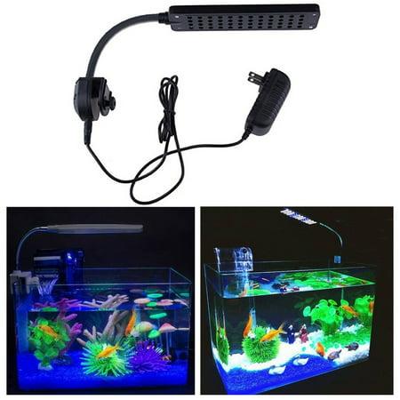 48 LED 2 Mode Fish Tank Aquarium Plant Grow Clip White Blue Light Lamp