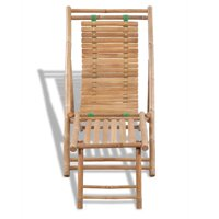 Mgaxyff Outdoor Deck Chair with Footrest Bamboo