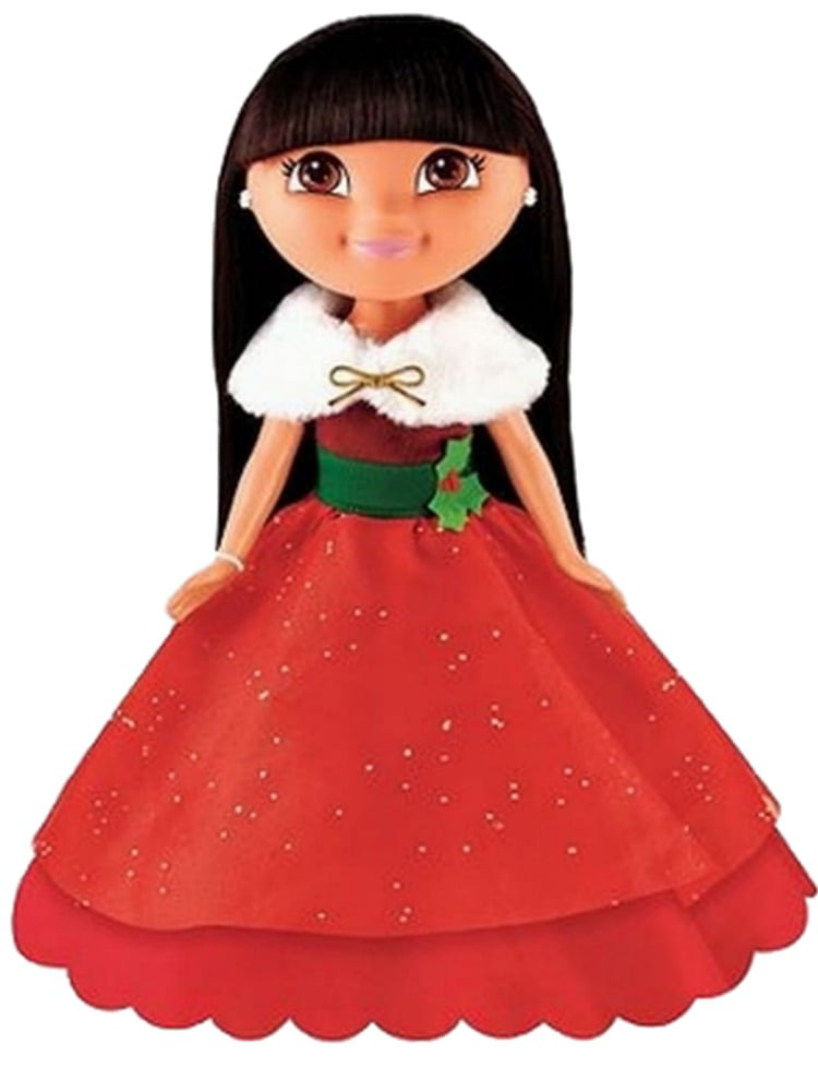 Fisher Price Holiday Sparkle Dora Doll with Pretty Red Dress & Combable Hair by Fisher-Price