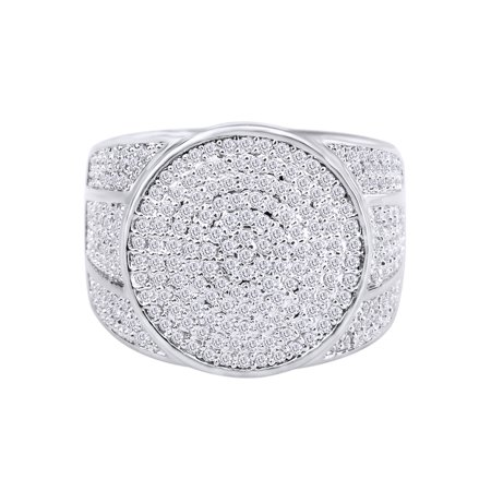 2.5 Carat (Ctw) White Natural Diamond Hip Hop Jewelry Halo Band Ring 10k Solid White Gold Ring Size-10
