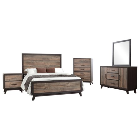 Calista 5 Piece Bedroom Set, King, Rustic Mahogany & Dark Ebony ...
