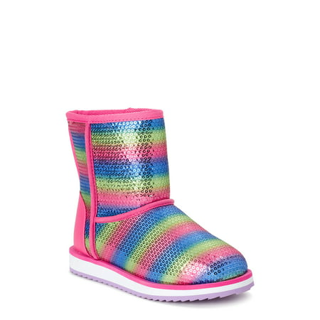 Wonder Nation Striped Sequin Faux Shearling Boot (Toddler Girls)