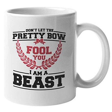 Don't Let The Pretty Bow Fool You. I'm A Beast. Funny Cheerleading Coffee & Tea Gift Mug For Daughter, Mom, Female Supporter, Advocator, Best Friend, Sport Enthusiasts And Women Cheerleaders (11oz)