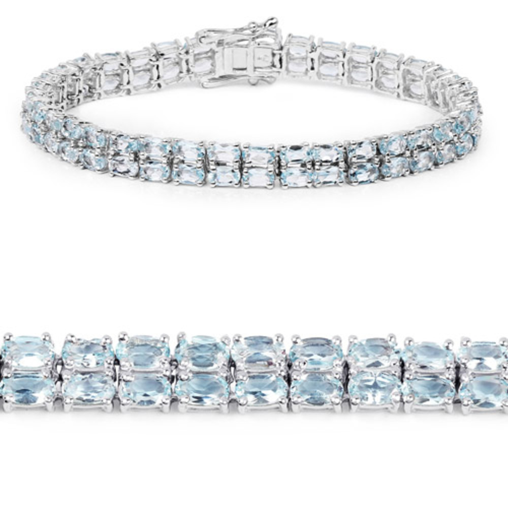 Genuine Oval Blue Topaz Bracelet in Sterling Silver by Bonyak Jewelry