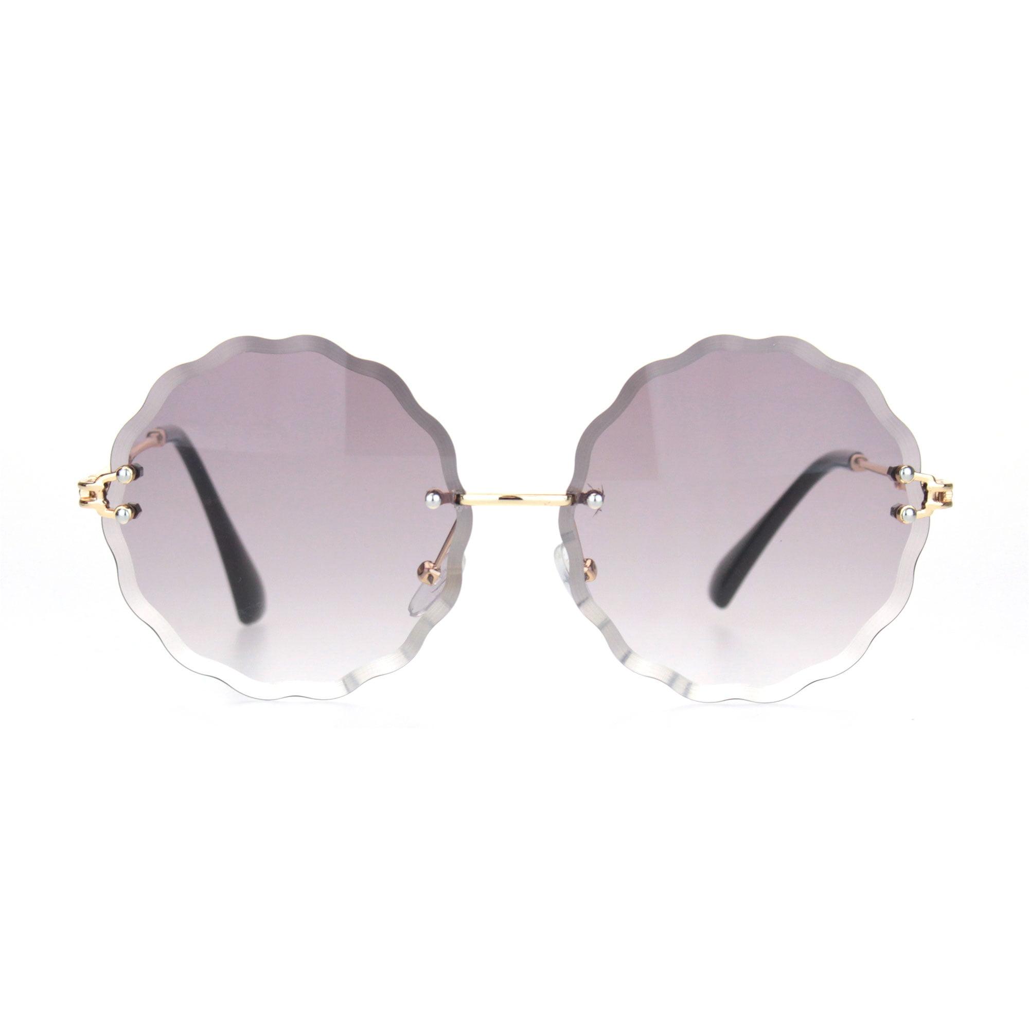 Beveled Cut Flower Petal Lens Rimless Round Retro Sunglasses