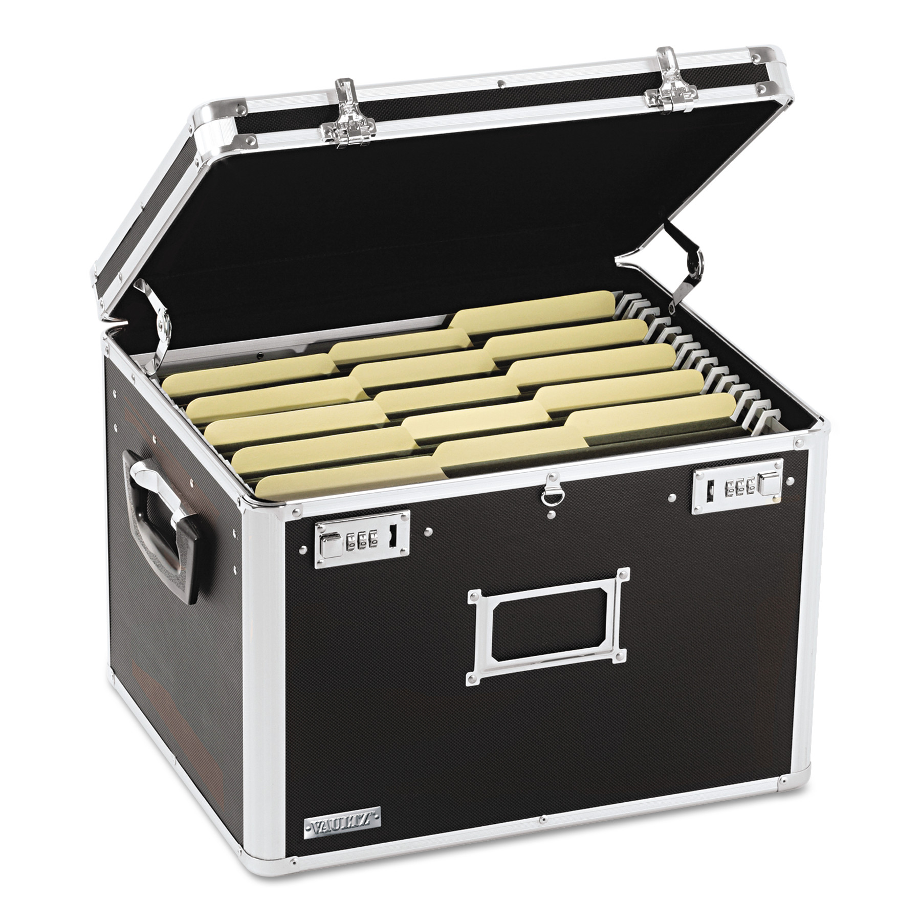 Vaultz Locking File Chest, Letter/Legal, 17 1/2 x 14 x 12 1/2, Black -IDEVZ01008