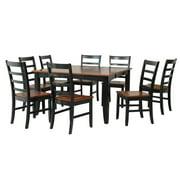 Wabasca Dining Set-Finish:Black/Saddle Brown,Quantity:9 Piece