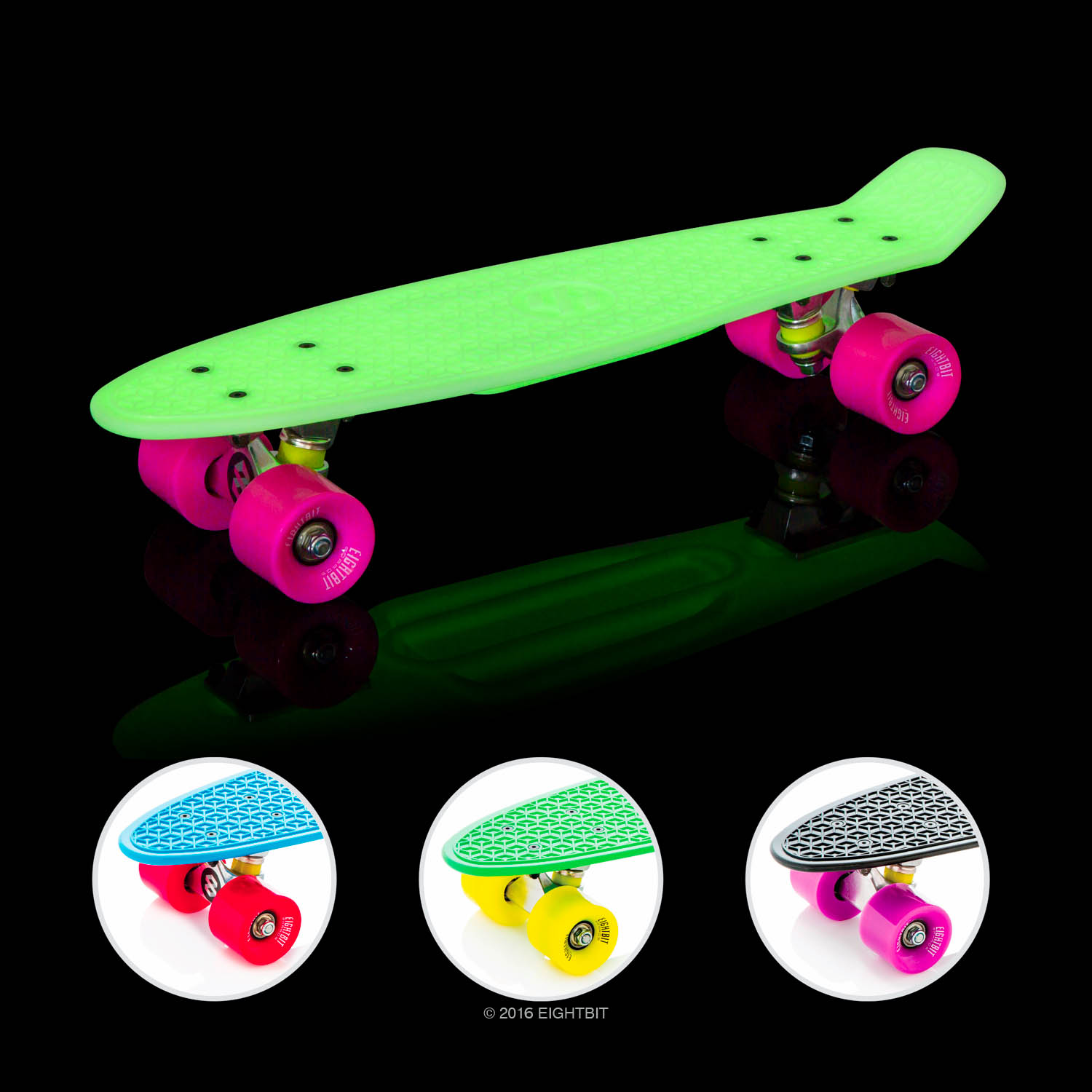 "Eightbit 22"" Complete Skate Board - Retro Skateboard Glow-in-the-Dark - Kryptonite/ Punch"