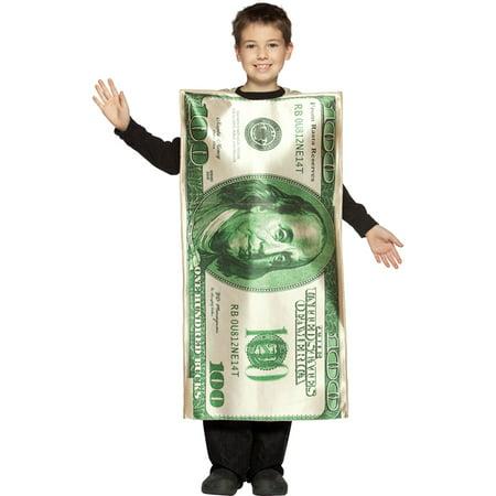 Morris Costume Child $100 Dollar Bill Money Costume Size 7-10, Style (Barnacle Bill Men's Costumes)