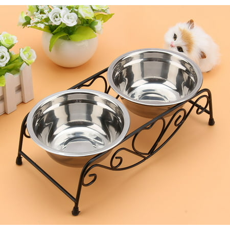 Double Pet Bowl,Double Pet Feeder Dishes,Pet Cat Dog Puppy Food And Water Dish Bowls With Retro Iron Stand ()