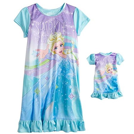 Disney Girls' Frozen Elsa Nightgown with Matching Doll Gown (Elsa Frozen Gown)