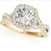 1 Ct Diamond Cushion Halo Engagement Ring in 14k White Yellow or Rose Gold