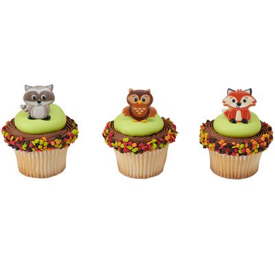24pack Woodland Animals Cupcake / Desert / Food Decoration Topper Rings with Favor Stickers & Sparkle - Whole Foods Halloween Cupcakes