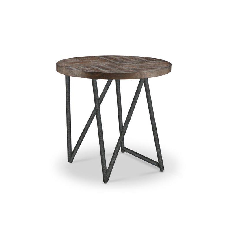 Magnussen Bixler Oval End Table in Distressed Nutmeg