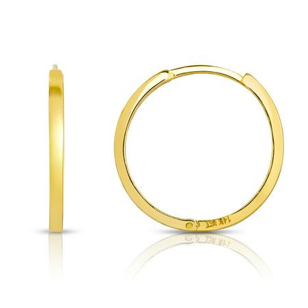 14 KARAT YELLOW GOLD HUGGIE HOOP EARRINGS (DIAMETER: 20MM)
