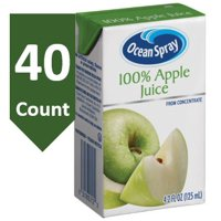 Ocean Spray 100% Apple Juice, 4.23 Fl Oz drink box Snack Pack Size, 40 Count