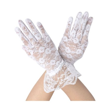 Sheer Lace Floral Tulle Bridal Wedding Gloves w/ Wrist Ruffle, White - Black Light White Gloves