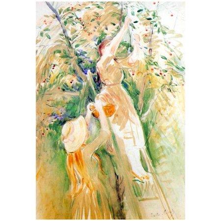 Berthe Morisot The Cherry Tree Study Art Print Poster - 13x18.5