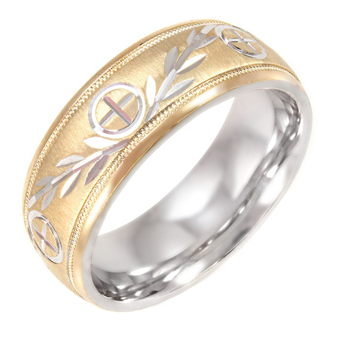 Men's Cross and Vine Pattern 8mm Ring in 10kt Gold and Sterling Silver