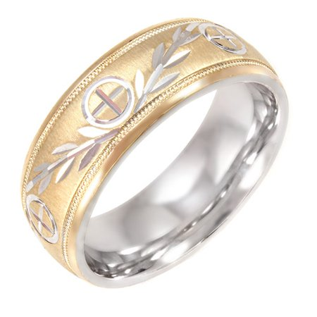 mens cross and vine pattern 8mm ring in 10kt gold and sterling silver