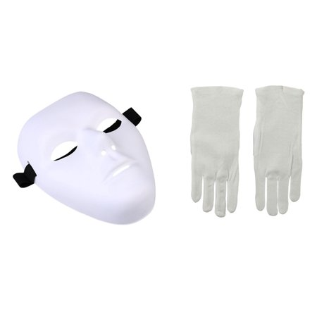 Thick Blank Male Mask and White Gloves Phantom Dance Crew Costume Kit (Ready To Ship Dance Costumes)