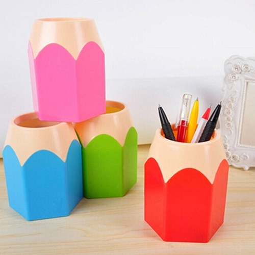 Girl12Queen Creative Pen Vase Pencil Pot Makeup Brush Holder Stationery Desk Tidy Container