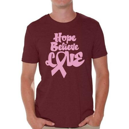 Cf Awareness (Awkward Styles Hope Believe Love Mens T Shirt Hope Believe Love Gifts Breast Cancer Shirt Hope T Shirt for Him Hope Believe Love Tshirt for Men Breast Cancer Awareness Shirt)