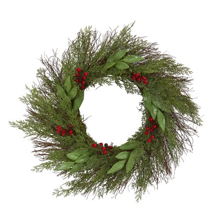 Nearly Natural 20in. Cedar and Ruscus with Berries Artificial Wreath ()