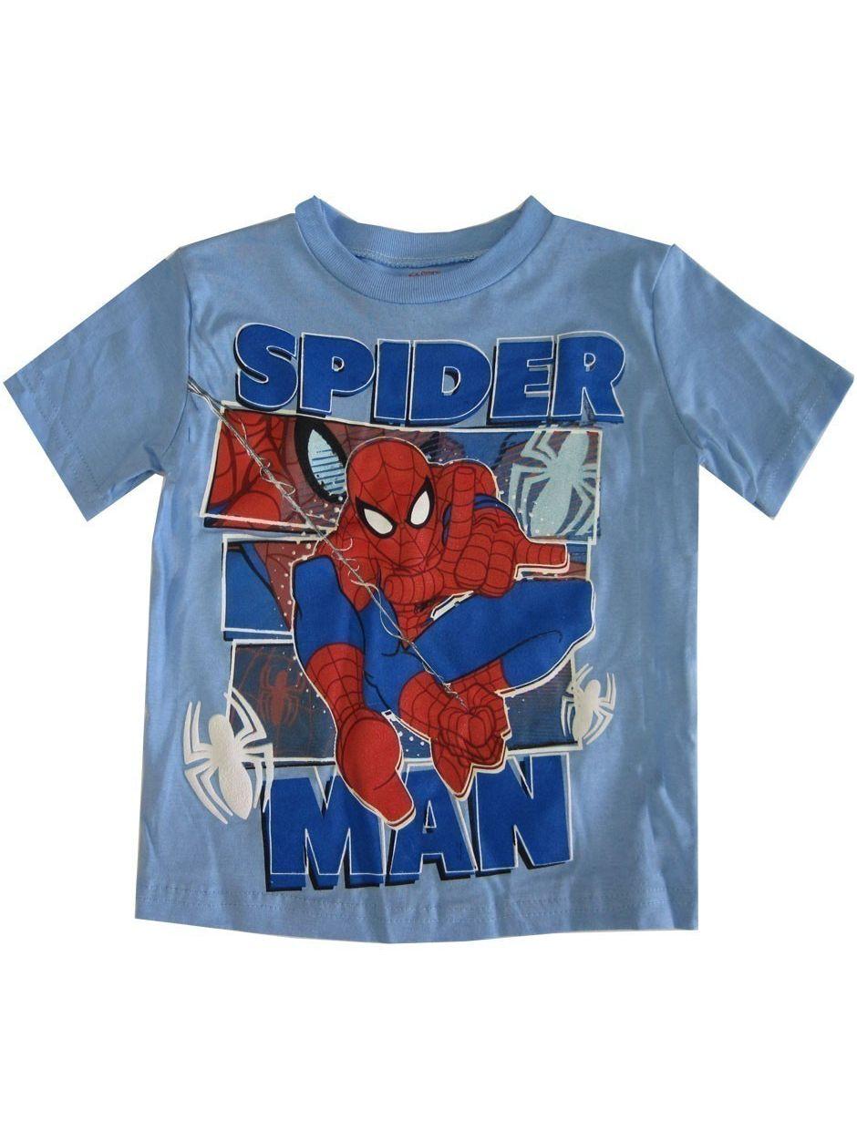 Marvel Little Boys Sky Blue Spiderman Print Short Sleeved T-Shirt