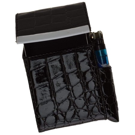 Crocodile Pattern Genuine Leather Cigarette Case Holder with Lighter Pocket 92812CR (C)